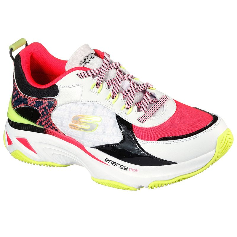 Tenis-Skechers-Energy-Racer-Oh-So-Cool-color-Blanco-Negro-Coral-talla-35-para-Mujer